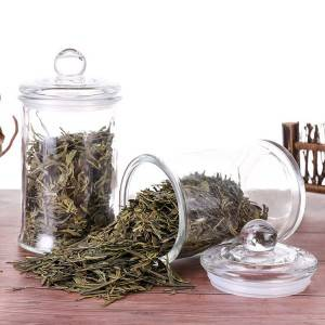 Cheap transparent glass tea pot kitchen food storage jar with glass lid