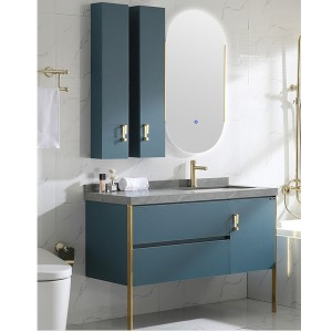 Rockboard Light Luxury Golden Modern Bathroom Bathroom Cabinet Vanity Sink Wash Hand Basin Cabinet Bathroom Smart Mirror Cabinet#0156