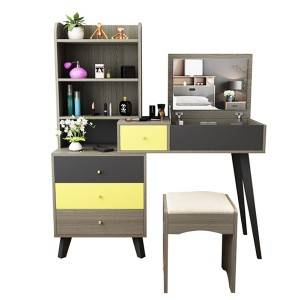 Nordic Dressing Table and Stool Combination Simple Modern Bedroom Small Apartment Dressing Table Plate Table 0003