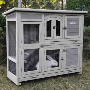 Jeterson 2 Story Small Animal Hutch with Feeder Ramp and Slide Out Tray