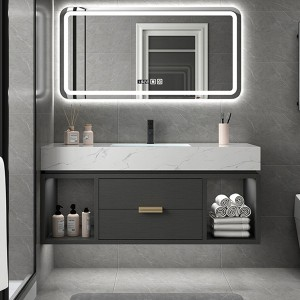 Marble Bathroom Cabinet Combination Nordic Solid Wood Vanity Toilet Washbasin#0140