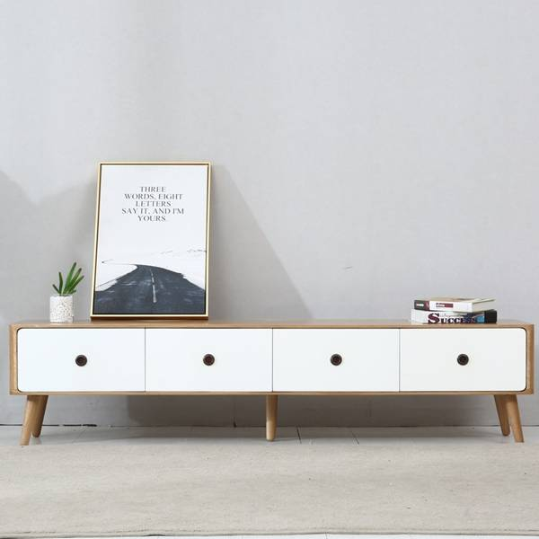 Nordic Modern Solid Wood Living Room Two-Color TV Stand Cabinet# 0020 Featured Image