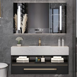 Nordic Bathroom Cabinet Combination Bathroom Sink Basin Toilet Marble Vanity Smart Mirror Cabinet#0154