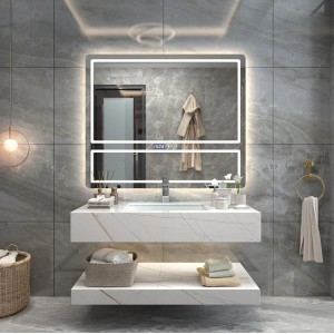 Modern Minimalist Rock Board Bathroom Cabinet Combination Custom Wash Basin Cabinet Wash Hand Wash Basin Vanity Light Luxury Bathroom Cabinet#0135
