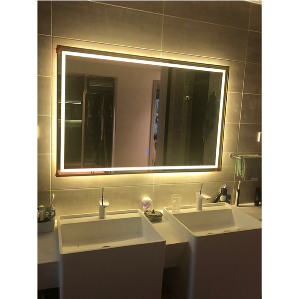 Hotel villa custom titanium stainless steel smart bathroom mirror 0658