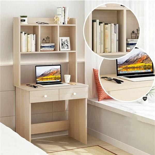 Desk with Bookshelf Combination White Computer Desk Girl Bedroom