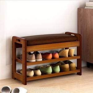 Solid wood shoe changing stool shoe rack simple modern creative sofa stool multifunctional low stool can sit storage stool soft cushion-0110