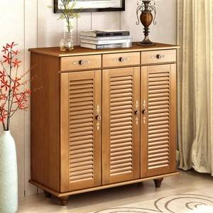 European-style solid wood shoe cabinet, multi-function hall cabinet, simple modern porch cabinet, large capacity locker storage cabinet
