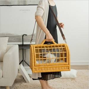 Pet box handbag rattan cat cage to go out cat backpack dog backpack