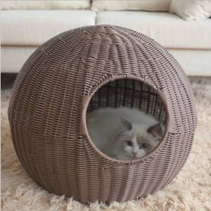 Removable and washable cat litter Four seasons enclosed kennel and breathable cat kennel Handmade rattan woven cat litter
