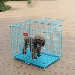 Folding Dog Cage Cat Cage Blue Pink Rabbit Cage Bold Wire Foldable Pet Cage