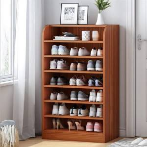 Simple Shoe Rack at The Door, Multi-Layer Storage Shelf, Home Interior, Good-Looking Solid Wood Color Doorless Simple Shoe Cabinet