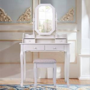 Dressing table modern simple solid wood dressing table table and stool combination bedroom small apartment vanity mirror