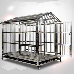 Stainless steel folding dog cage, pet dog cage with skylight tray Dog cage