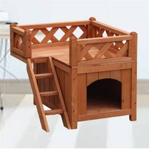 Wooden Deluxe Villa Cat House with Porch and Balcony