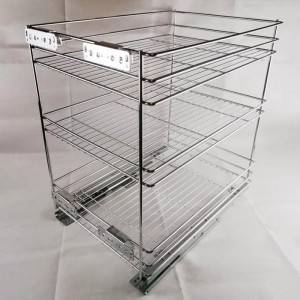 404 Series 3 layer bottom mount wire basket drawer for kitchen cabinets