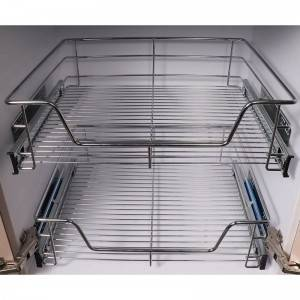 501 Series kitchen cabinet soft close pull out wire basket with side mount ball bearing slides