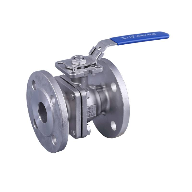 2PC flange ball valve with direct mounting pad PN16