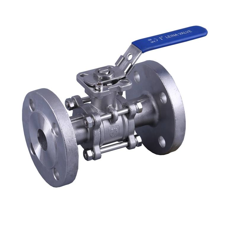 3PC flange ball valve with direct mounting pad 300LBS