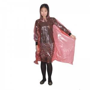 Disposable PE rain poncho (adult model)