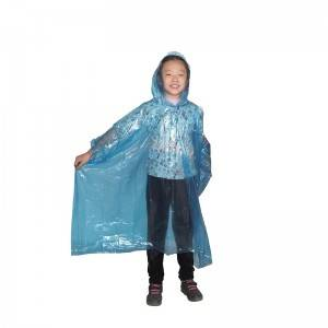 Disposable PE rain poncho (children)
