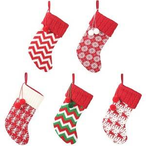 Christmas Knitting Socks Snow Elk Worsted Stocking Children Gift Bag Tree Ornament