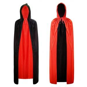 Halloween Party Red and Black Cloak 2 Layers Hooded Long Capes Double Sides Cos Props Fancy Dress