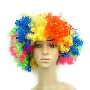 Artificial Hair Curly Rainbow Clown Wig Festival Carnival Party Costume