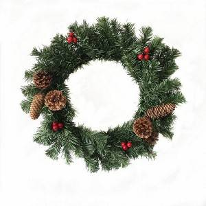 Artificial Plastic Pine Needles Wreaths with red Berries and Pinecone Christmas Decoration
