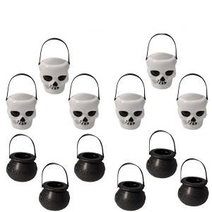 Halloween Widgets Decoration Witch Human Skeleton Bucket Portable Candy Jar Plastic Toys