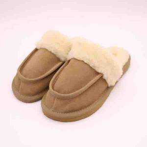 High quality cow suede rubber sole wool lined warm bedroom slippers