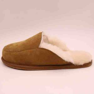 Comfortable high quality non-slip sheepskin men's slippers