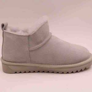 Lady Sheepskin Short Boot with double colors sole