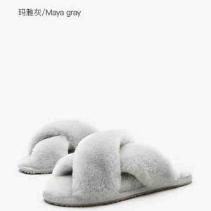 Popular fashion sheepskin indoor non-slip lady slippers