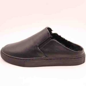 Men Leather Slipper with Vulcanized Sole