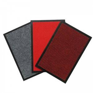 Polyester Surface Double Stripe PVC Mat Low Price Floormat For Outdoor Entrance