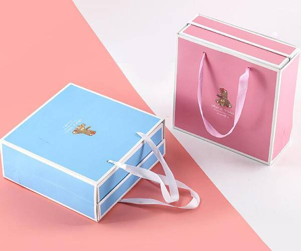 Factory wholesale Rectangle Gift Box - Special paper noodles with bowknot exquisite paper bag gift box set – Yuxingyuan