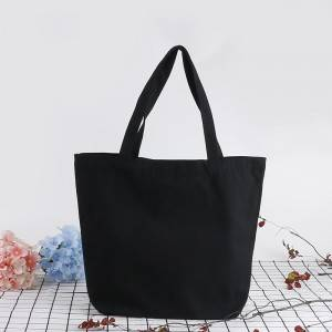 Promotional Advertising Custom Printed Logo Recycled Organic Black Cotton Canvas Tote Shopping Bag