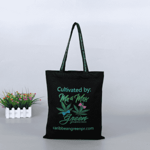Custom Printed Eco-friendly Black Plain Cotton Canvas Grocery Shopping Tote Bag