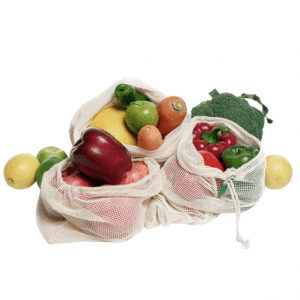 Custom Fruit Vegetables Cotton Mesh Drawstring Bag