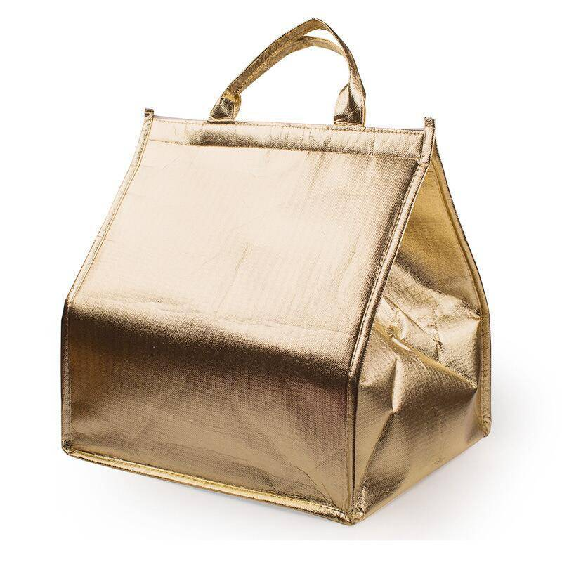Velcro gold non woven insulated lunch cooler bag, ice bag with film for freezing food and lunch Featured Image