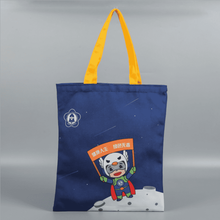 Natural eco blank cotton canvas tote mini bag blue canvas shopping bag with logo Featured Image