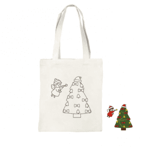 Wholesale Christmas Bolsa de Navidad Diy Painting Canvas Bag Children's Hand-painted Graffiti Bag Christmas Cotton Canvas Tote Bag Custom Printed