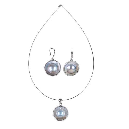 Super Lowest Price Aaa Fresh Water Pearl - 925 sterling silver Mabe Pearl Set, Mabe Pearl Set with sterling silver, Mabe Hook Earrings and Mabe Pendant Necklace, SET003 –  Daking Jewellery