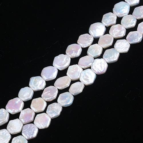 12mm AAA Hexagon Shape Ivory White Freshwater Keshi Pearl Strand
