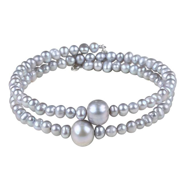2 Rows Round Pearl Bracelet Grey Freshwater Pearl Bangle Bracelet Cuff Coil For Wedding Bride, Sterling Silver,PB008