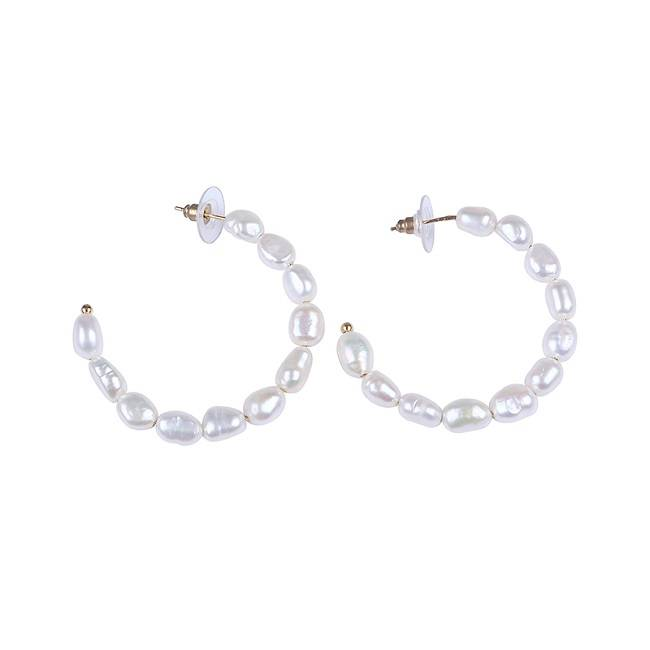 China Cheap price 11-12mm Star Beads - Big Hoop Freshwater Pearl Earrings, Girlfriend Gift, Hand Made Earrings –  Daking Jewellery
