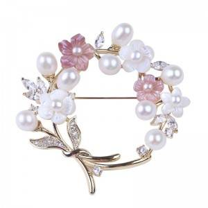 Fashion Freshwater Pearl Brooches Shell & Gold Plated Jewelry Wedding Elegant Zircon Flower Brooch Pins For Women