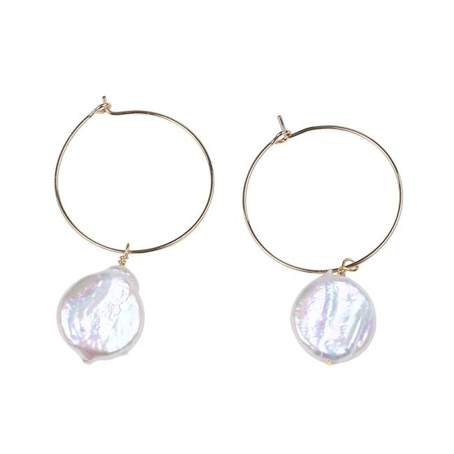 Simple & Dainty Single Cultured Coin Pearl Gold Hoop Earrings,PE005