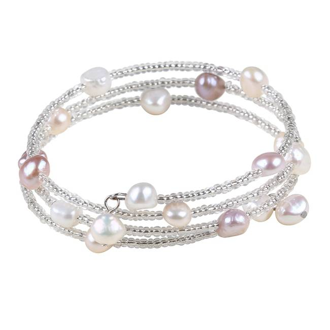 Freshwater Pearl & Glass Beaded 3 Row Bracelet, Sterling Silver, PB005